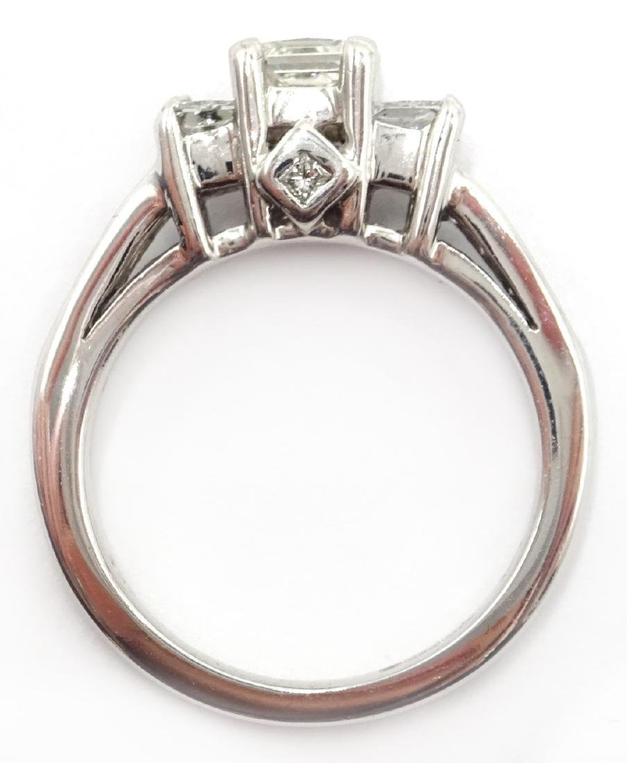 14ct white gold princess cut trilogy diamond ring with - 5