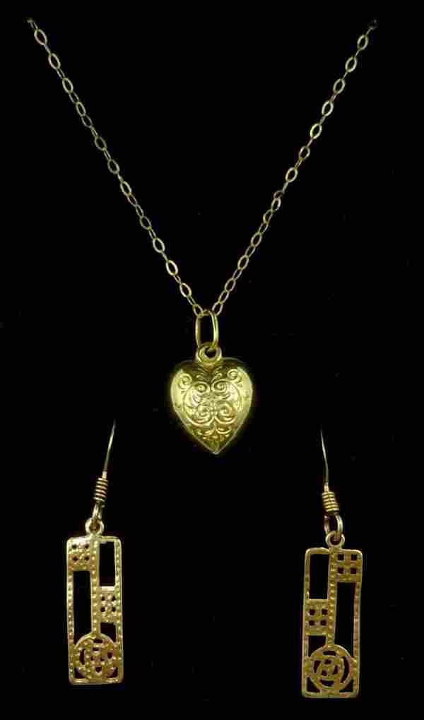 Pair of 9ct gold (tested) Mackintosh design pendant