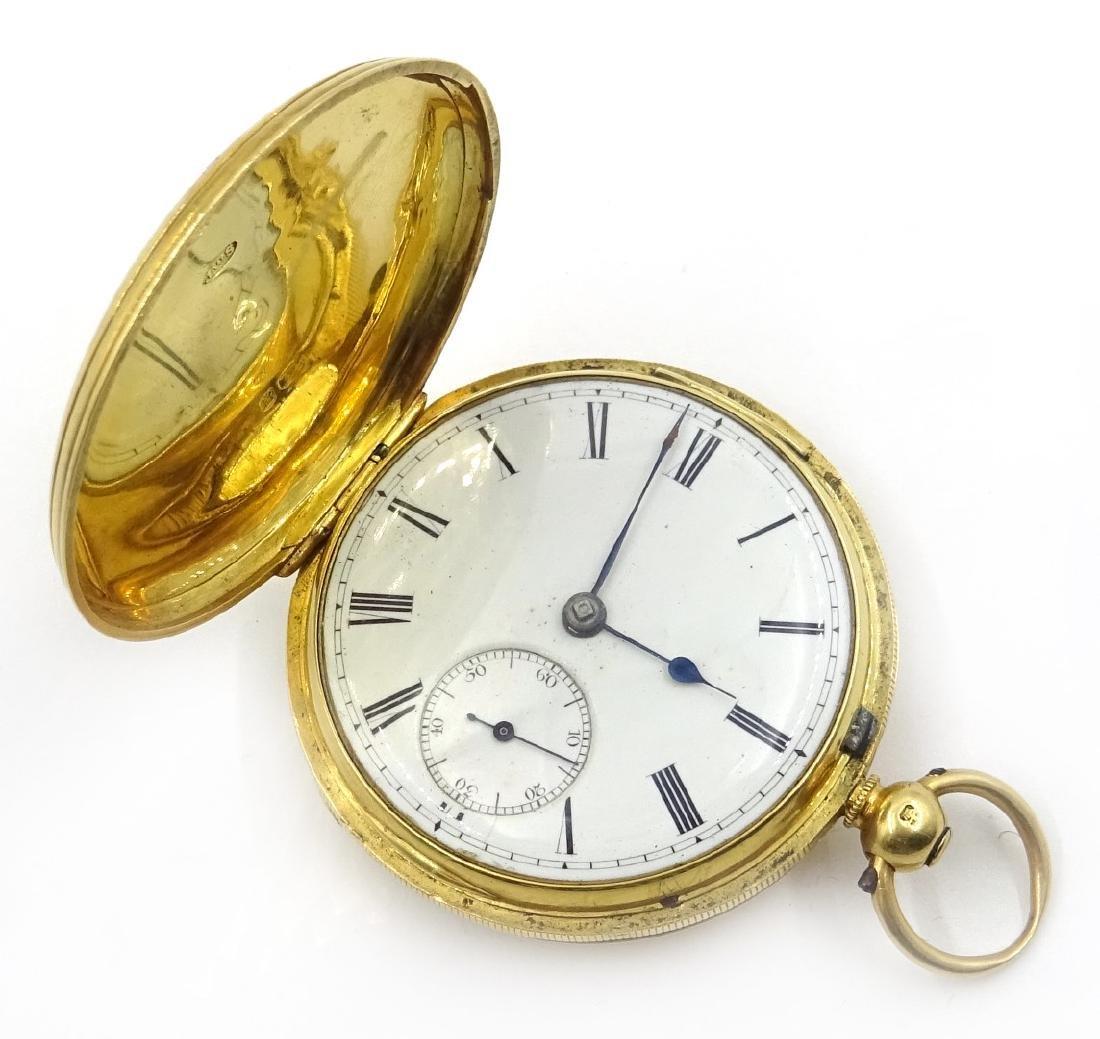 18ct gold hunter pocket watch by M Edler London &