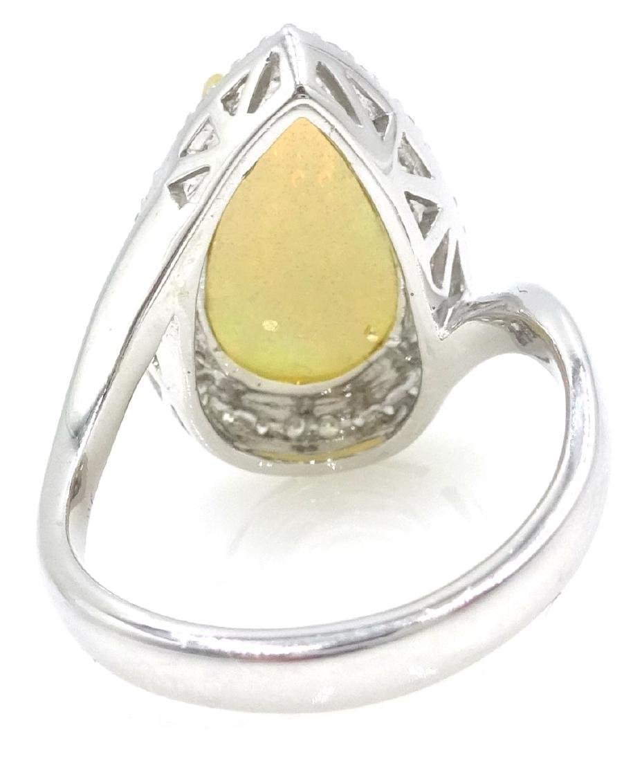 18ct white gold pear shaped opal and diamond cluster - 2