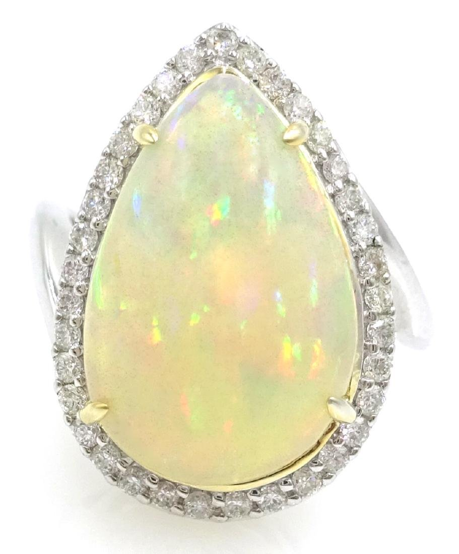 18ct white gold pear shaped opal and diamond cluster - 3