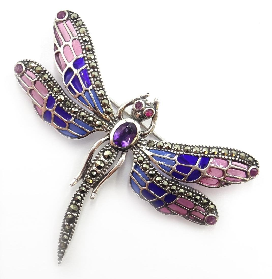 Plique-a-jour and marcasite silver dragonfly