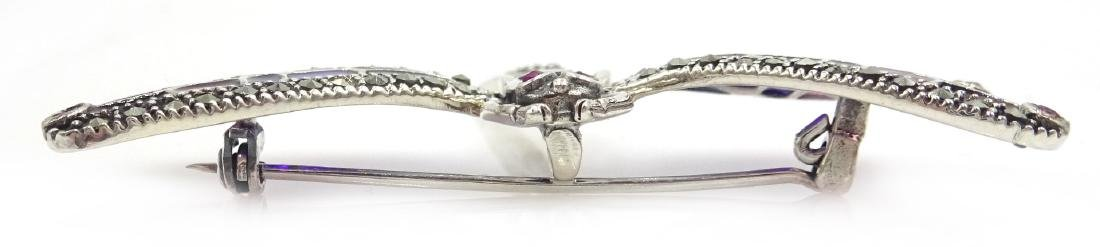 Plique-a-jour and marcasite silver dragonfly - 2