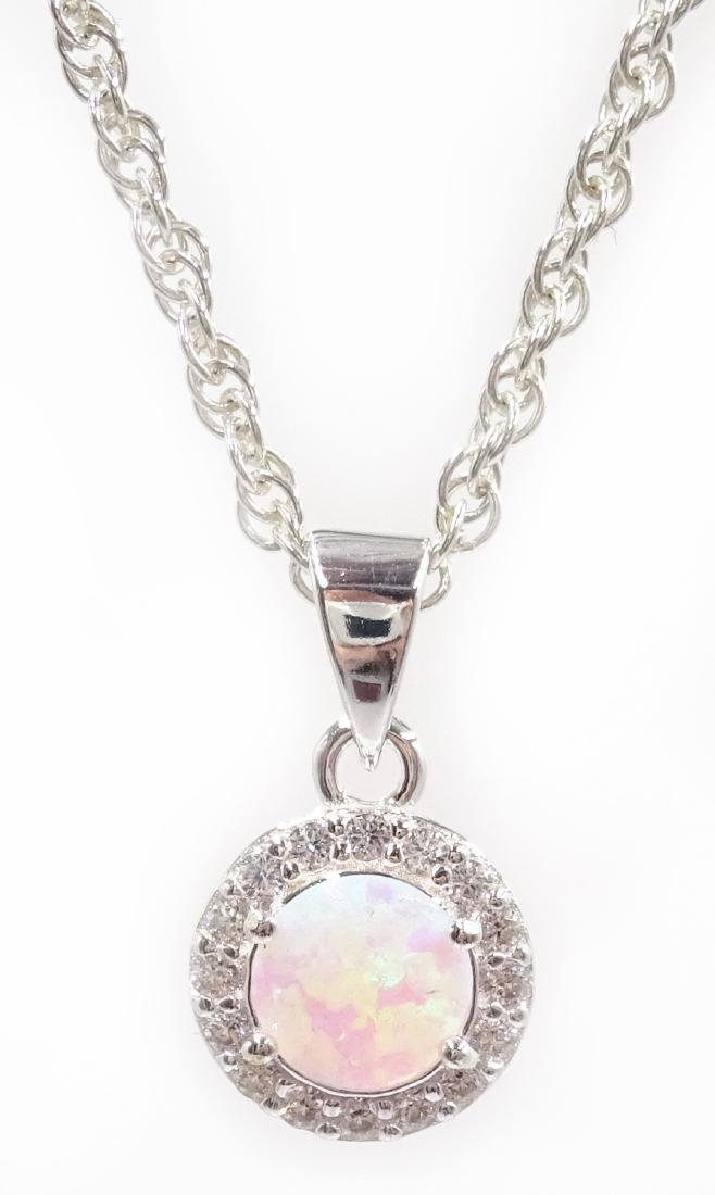 Silver opal pendant necklace stamped 925