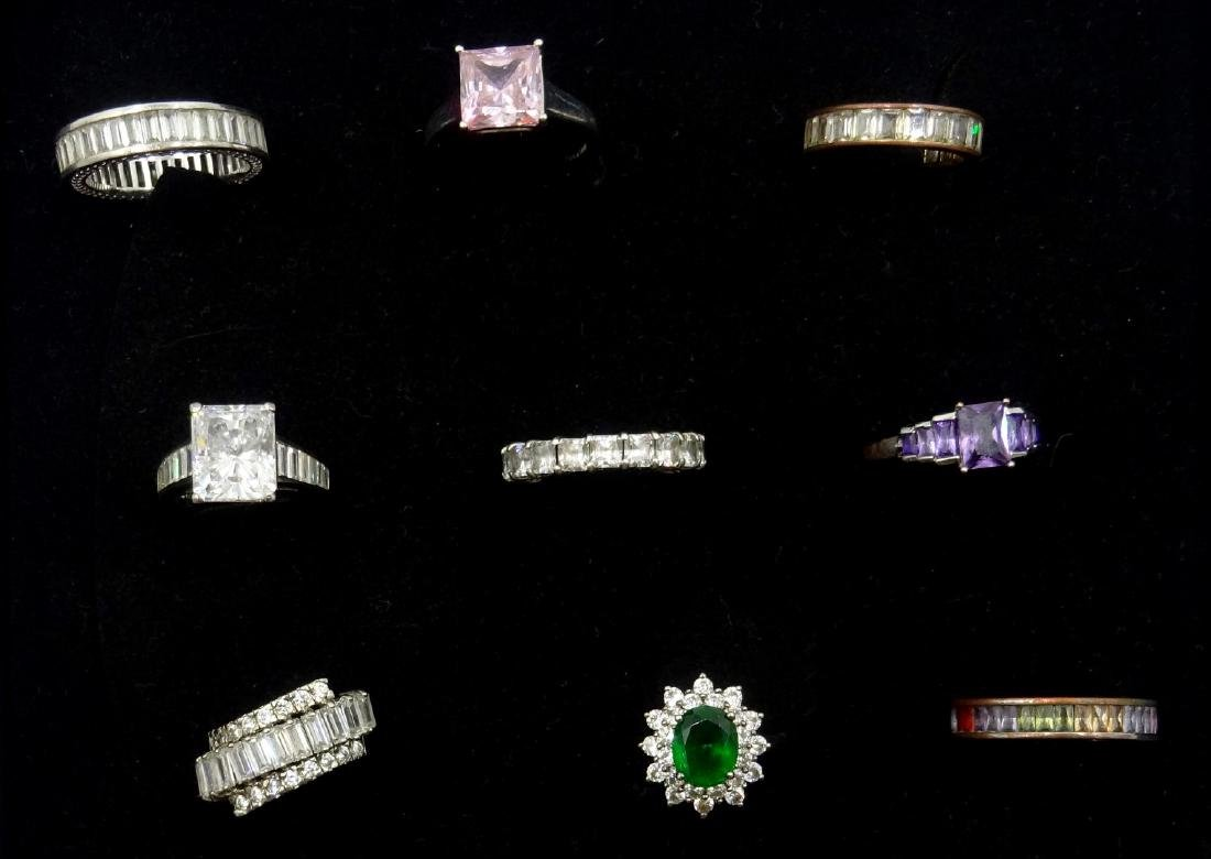 Collection of silver stone set dress rings stamped 925