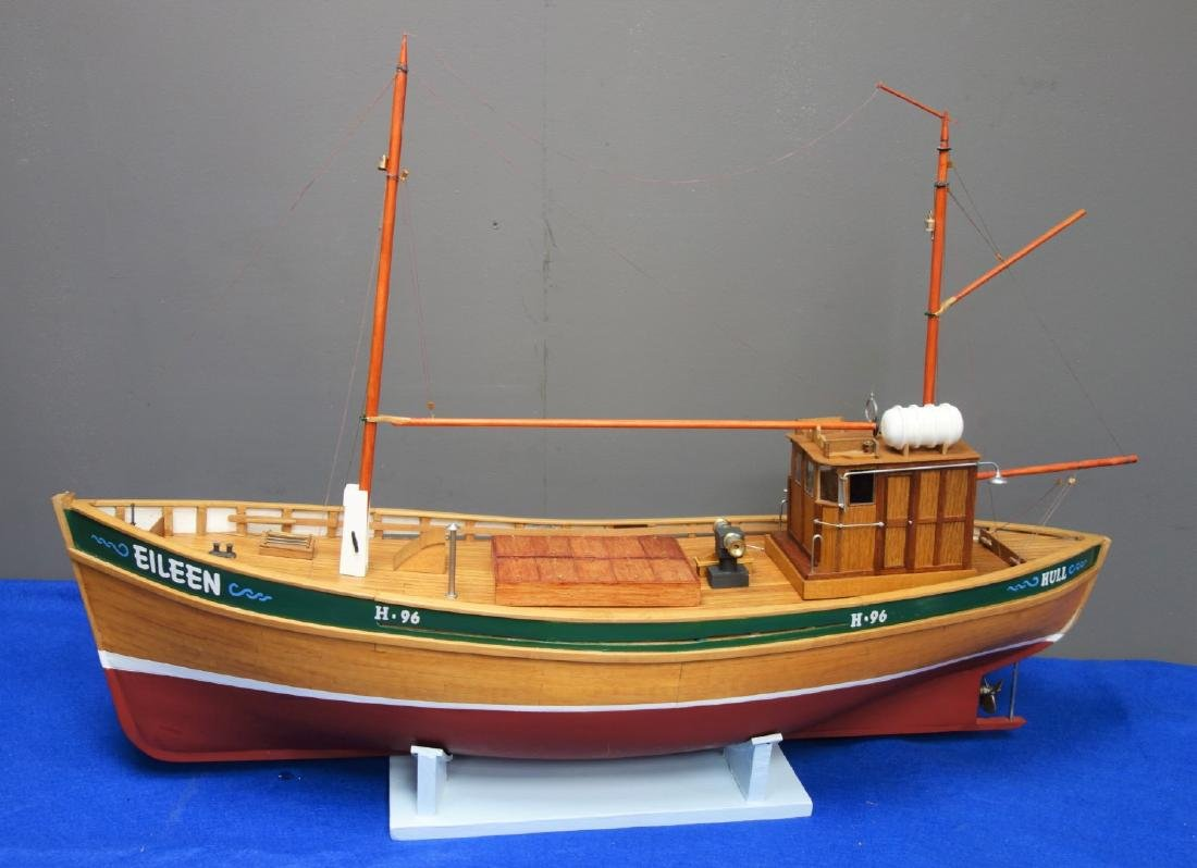 Part wooden scale model of the Hull Fishing Boat Eileen