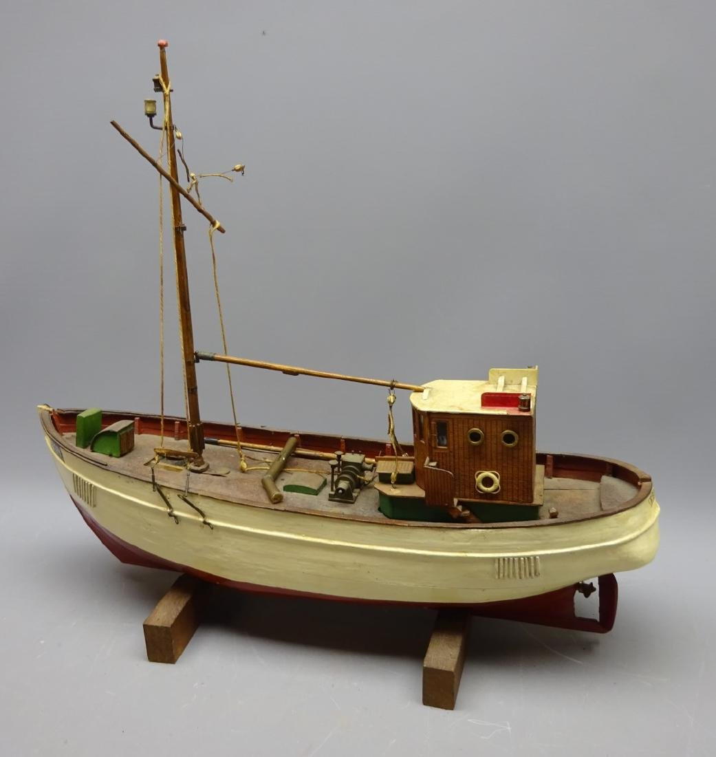 Wooden planked hull scale model of the Danish Fishing