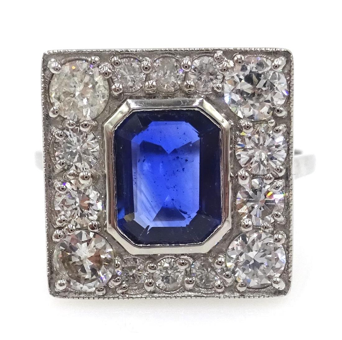 Art Deco style diamond and sapphire white gold ring,