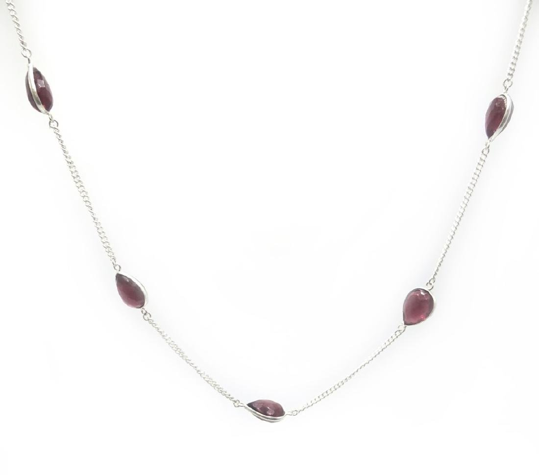 Silver (tested) faceted amethyst necklace, 80cm - 2