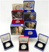 Six Royal Mint silver proof five pound coins; 1997 'In