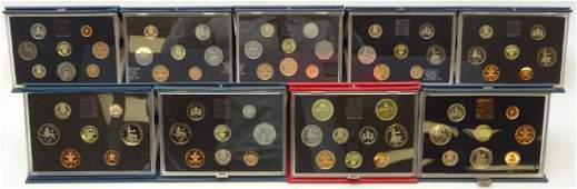 Nine Royal Mint proof sets; 1983, 1984, 1985, 1986,