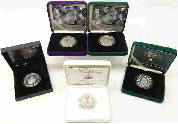 Five silver proof piedfort five pound coins; 2000 'The
