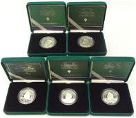 Five 2000 'The Queen Mother Centenary Year' silver