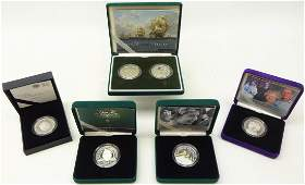 Six silver proof piedfort five pound coins; 2000 'The