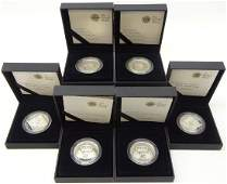 Six Royal Mint silver proof five pound coins two 2008