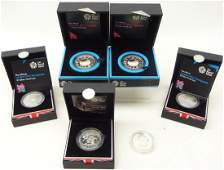 Six Royal Mint London Olympics silver proof five pound