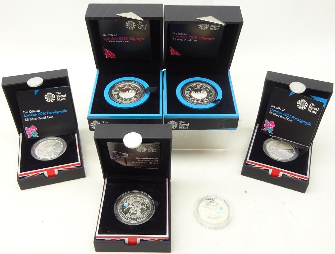 Six Royal Mint London Olympics silver proof five pound