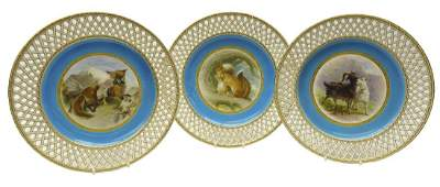 Set of three late Victorian Minton cabinet plates hand
