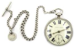 Victorian silver cased pocket watch by A Jacobs Hull no