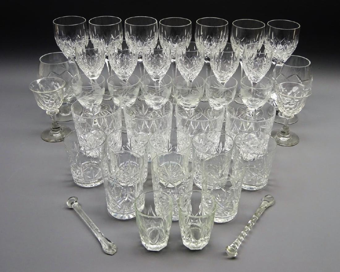 Two sets of six crystal wine glasses, tumblers, etched
