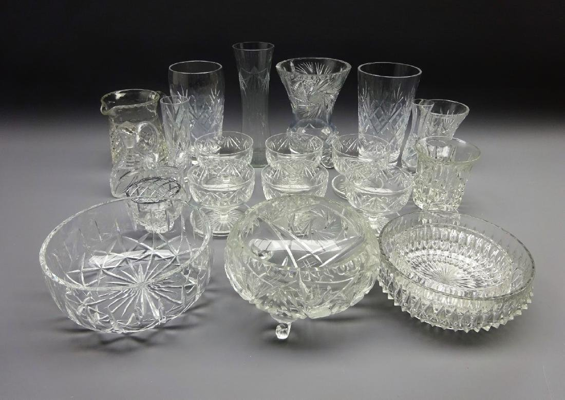 Two sets of six crystal wine glasses, tumblers, etched - 2