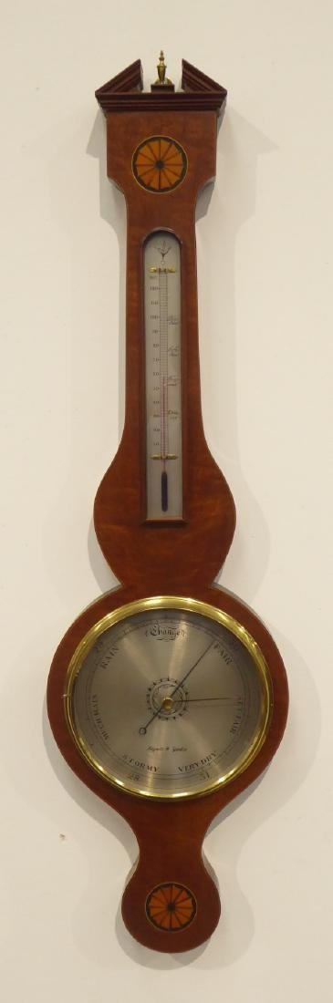 Georgian style mahogany wheel barometer, broken arch