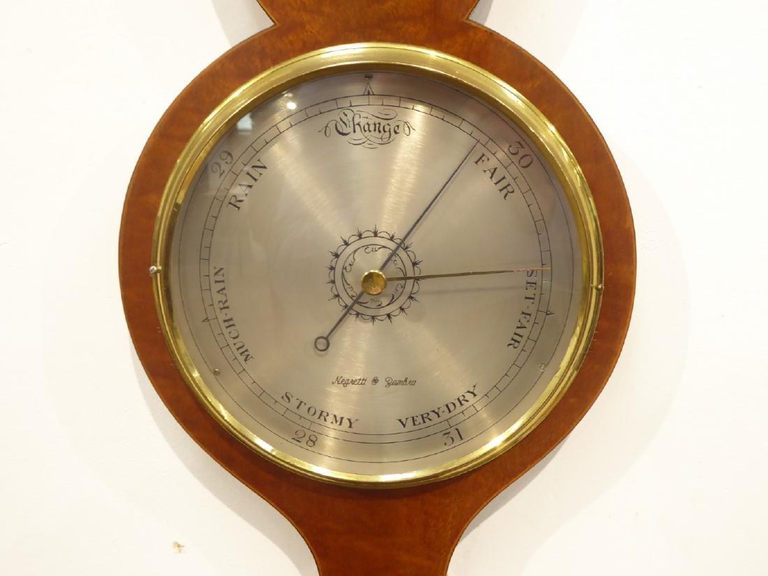 Georgian style mahogany wheel barometer, broken arch - 2