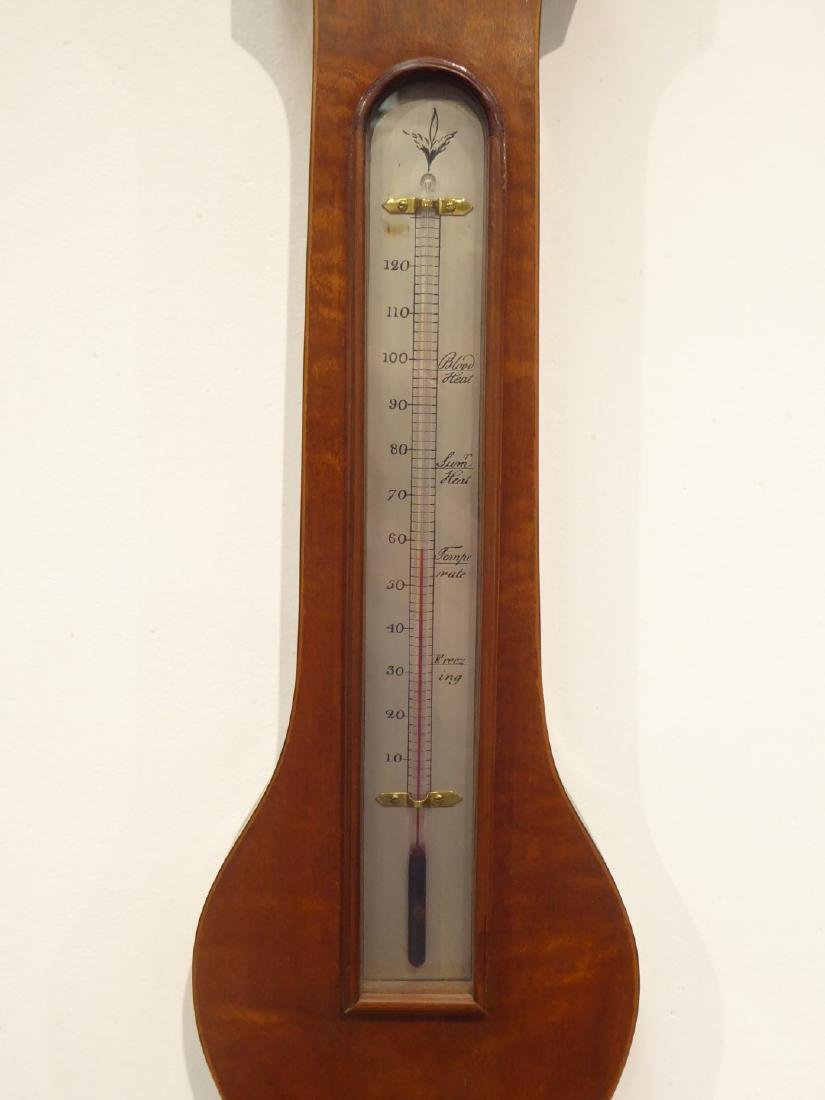 Georgian style mahogany wheel barometer, broken arch - 3