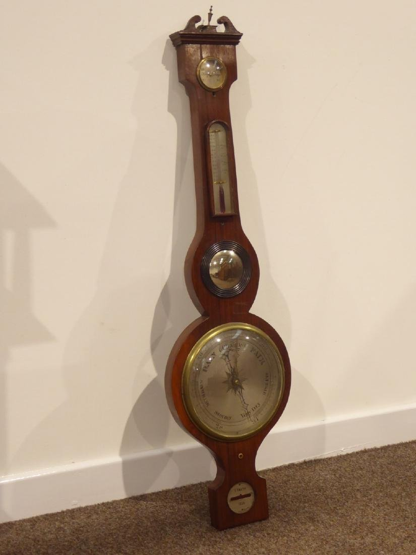 19th Century wheel barometer with thermometer, concave