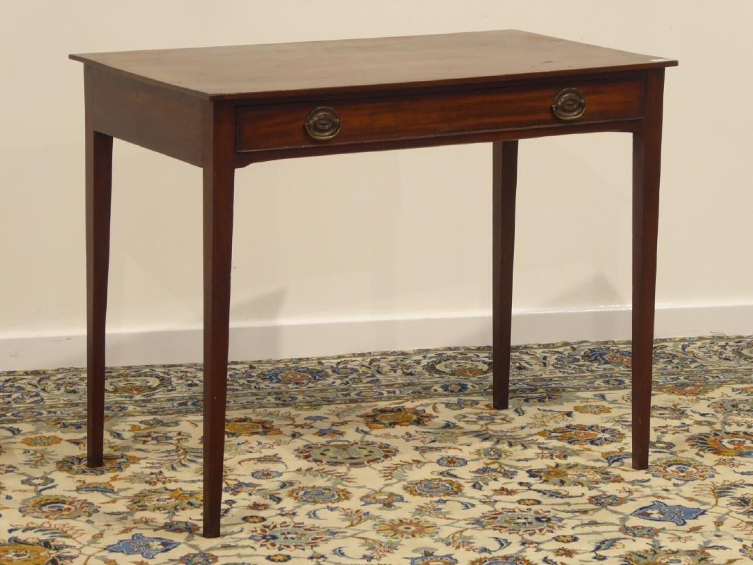 Georgian mahogany side table, single drawer, square