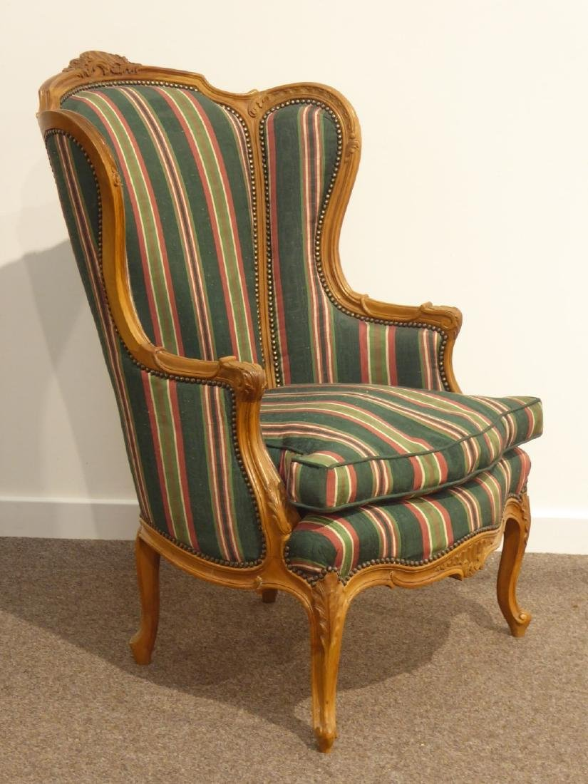 French style carved walnut wingback armchair