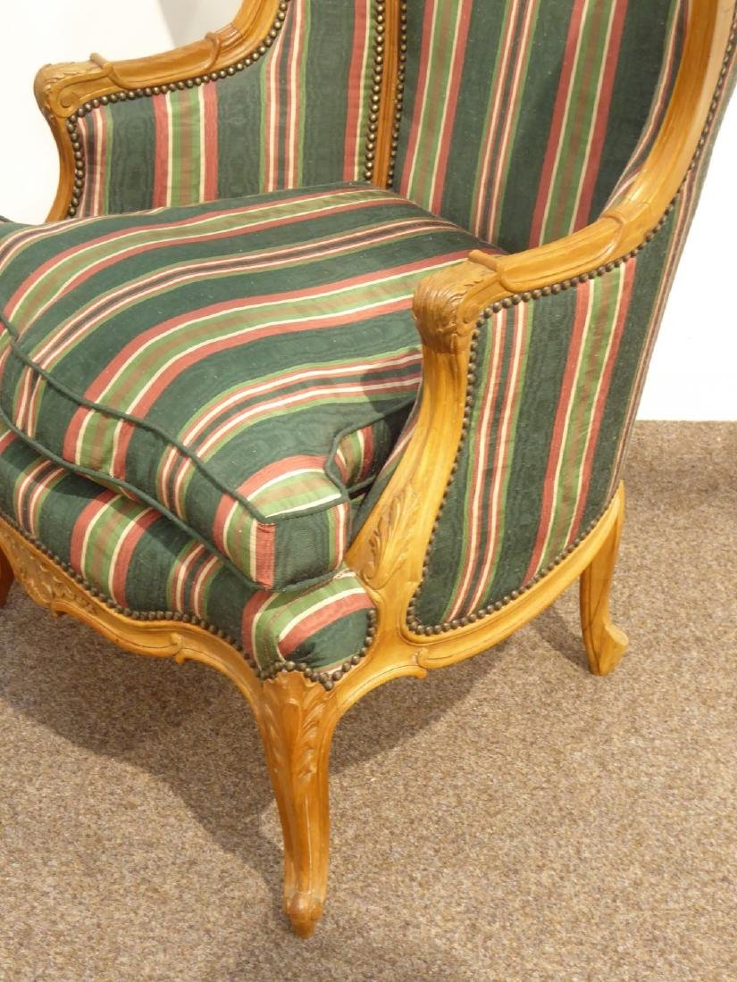 French style carved walnut wingback armchair - 2