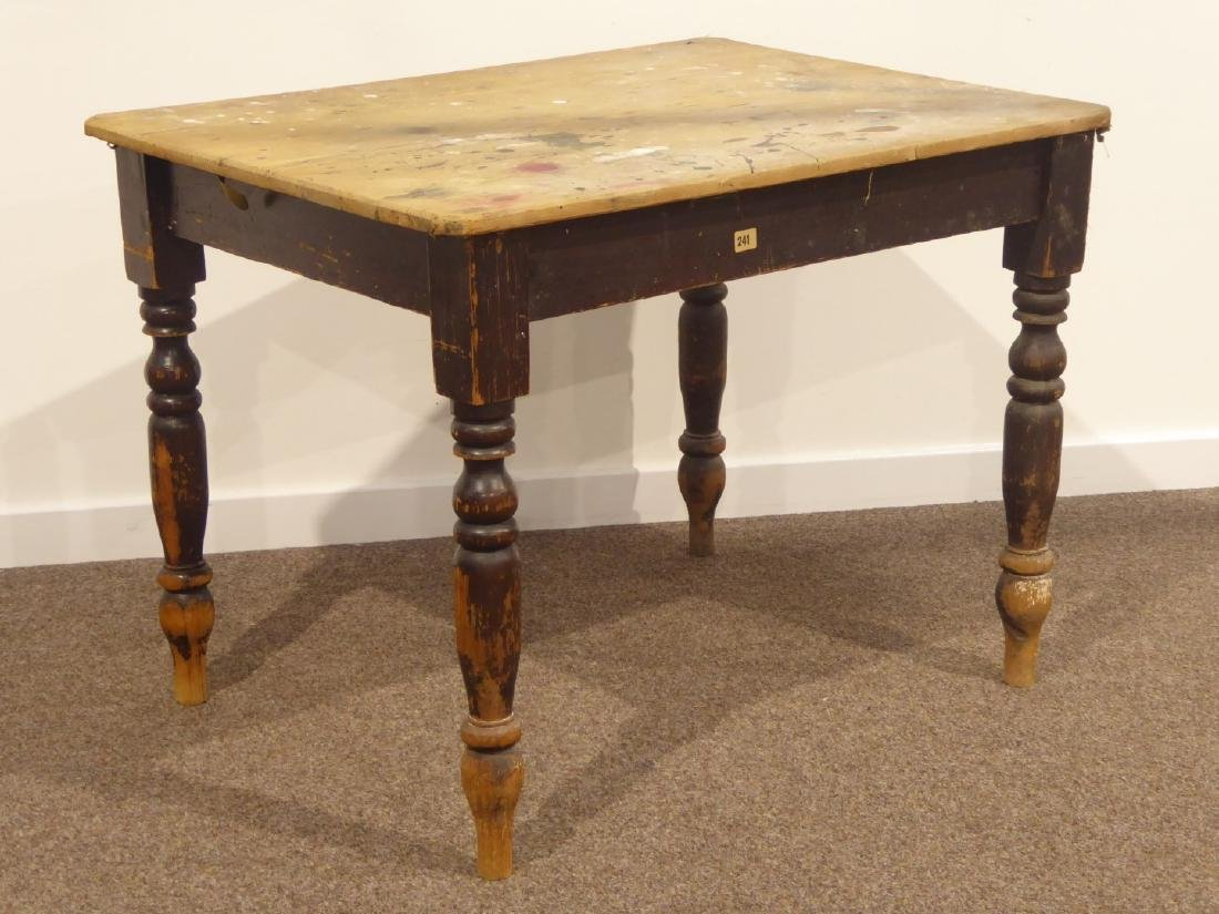 19th century rectangular pine table on turned base