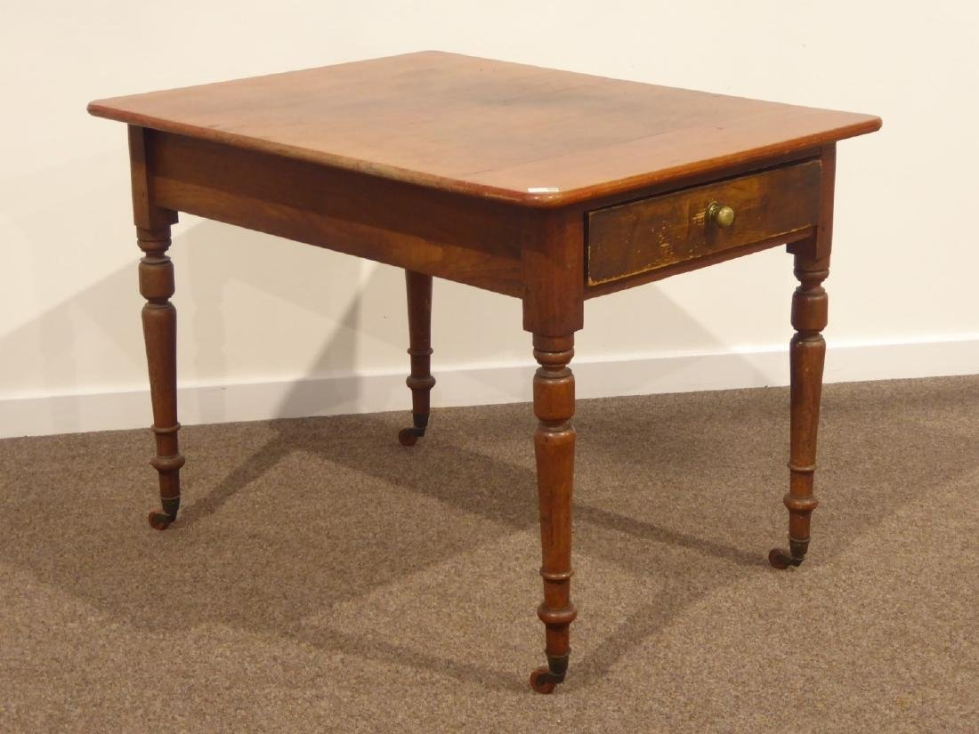 19th century rectangular pine table on turned base - 3