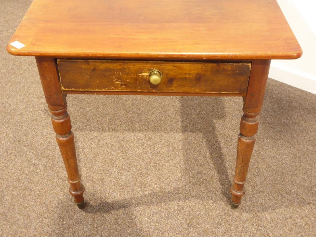 19th century rectangular pine table on turned base - 4