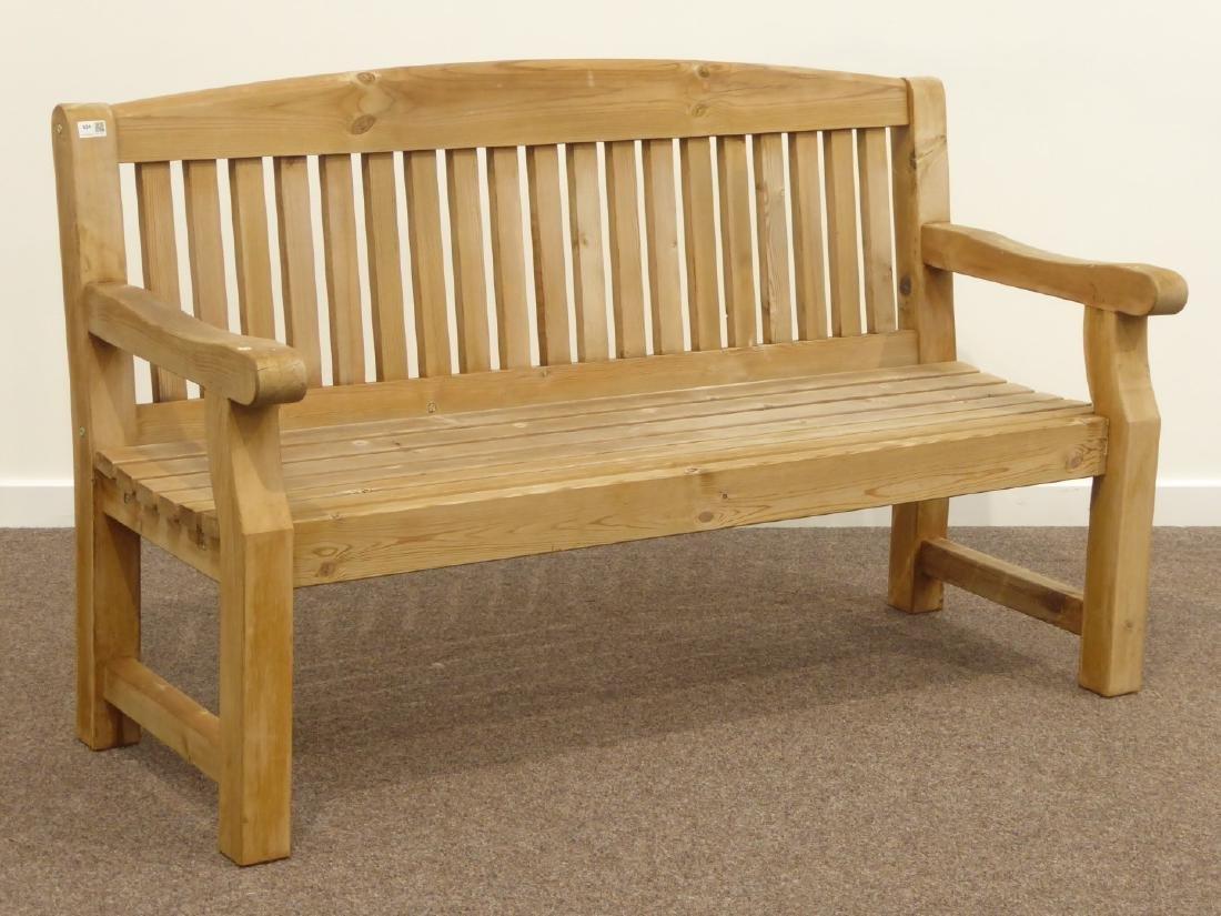 Pine slatted garden bench, W153cm