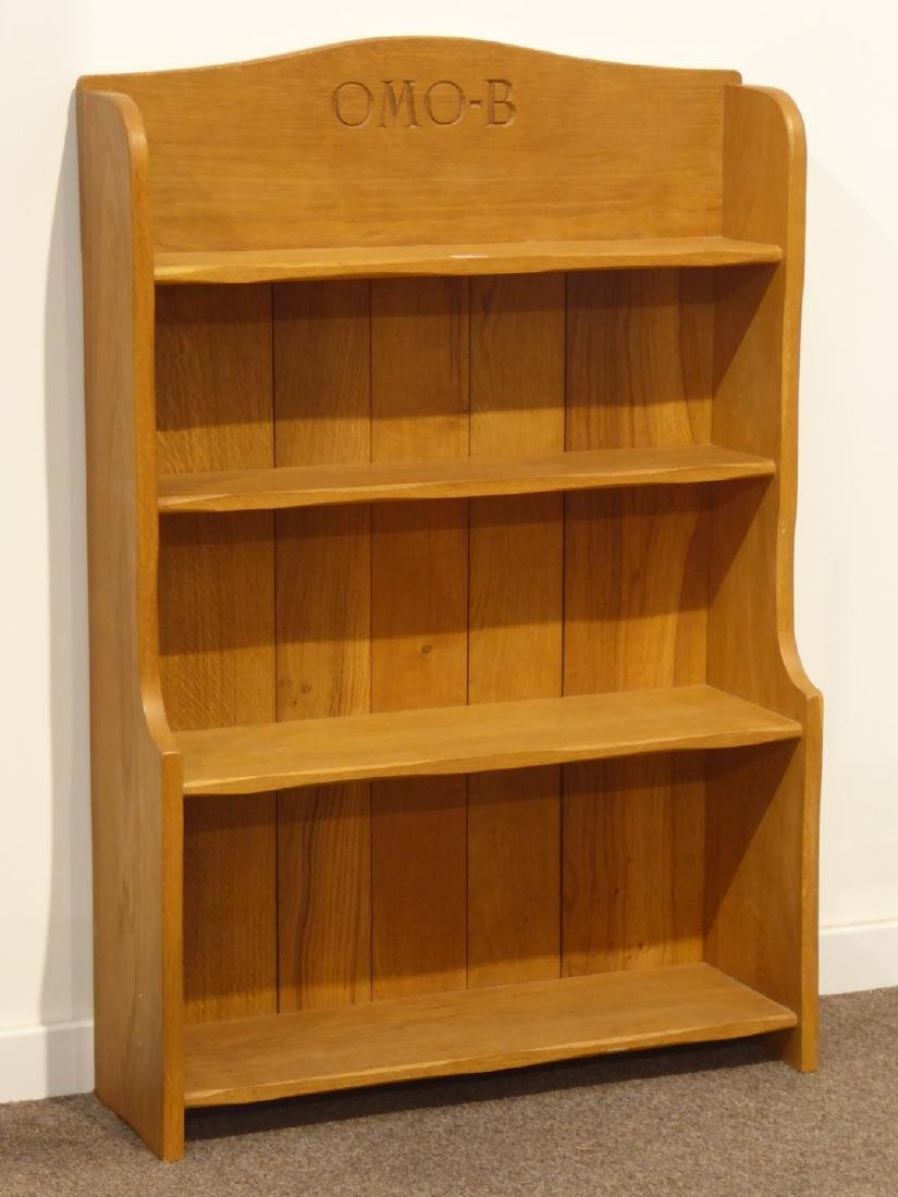 Light oak four tier waterfall bookcase, with initials