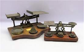 Set of Victorian brass Postal scales by S Mordan & Co,