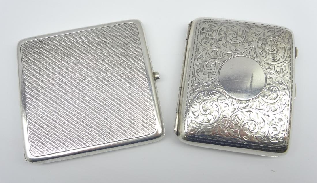 Engine turned silver cigarette case Birmingham 1919 and