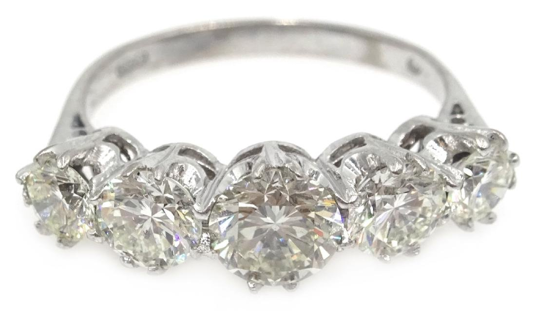 Graduating five stone diamond white gold ring,