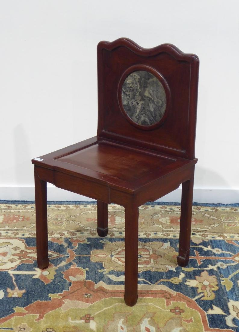 19th/20th century Chinese hardwood chair with circular