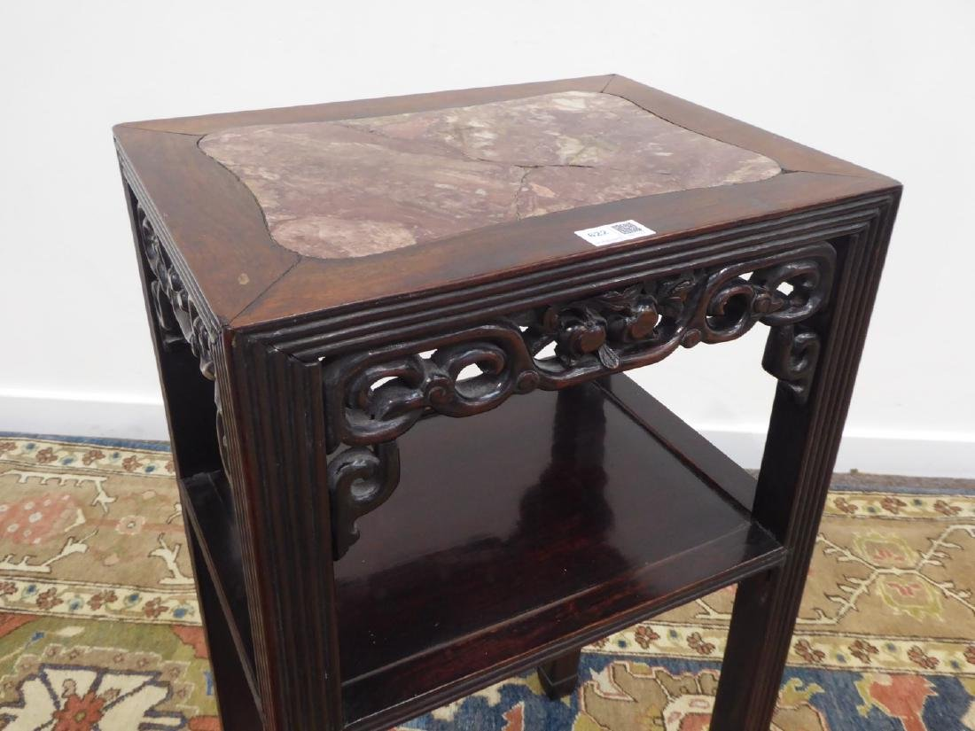 Chinese hardwood two tier occasional table, inset red - 3