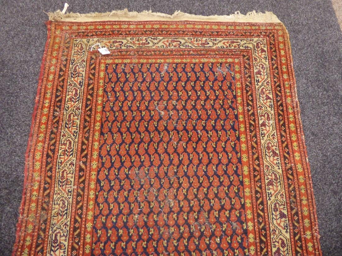 Old Persian runner rug, repeating Boteh motifs on blue - 10