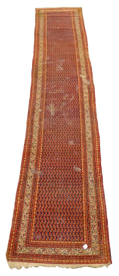 Old Persian runner rug, repeating Boteh motifs on blue