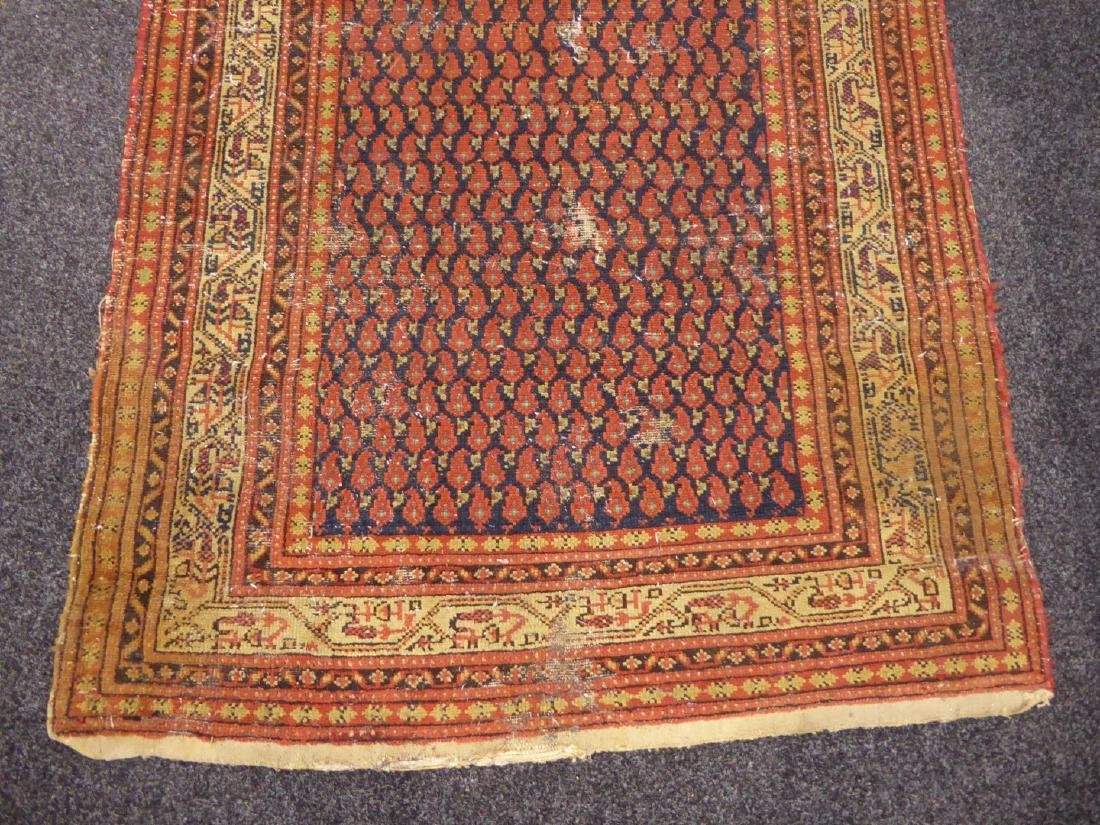 Old Persian runner rug, repeating Boteh motifs on blue - 3
