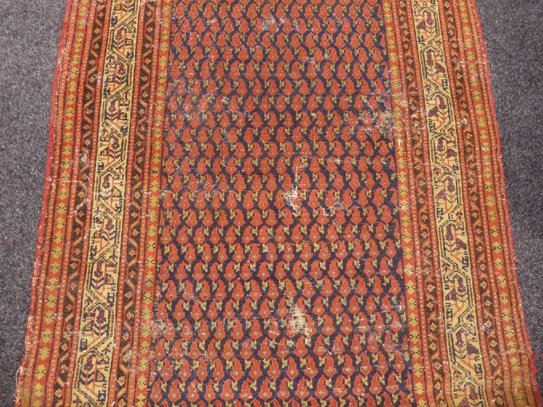 Old Persian runner rug, repeating Boteh motifs on blue - 4