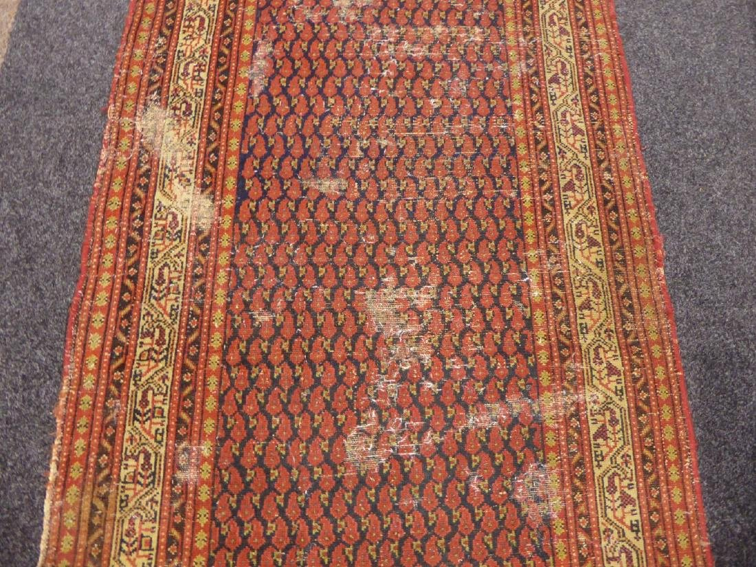 Old Persian runner rug, repeating Boteh motifs on blue - 6