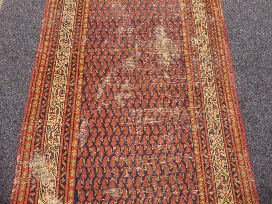 Old Persian runner rug, repeating Boteh motifs on blue - 7
