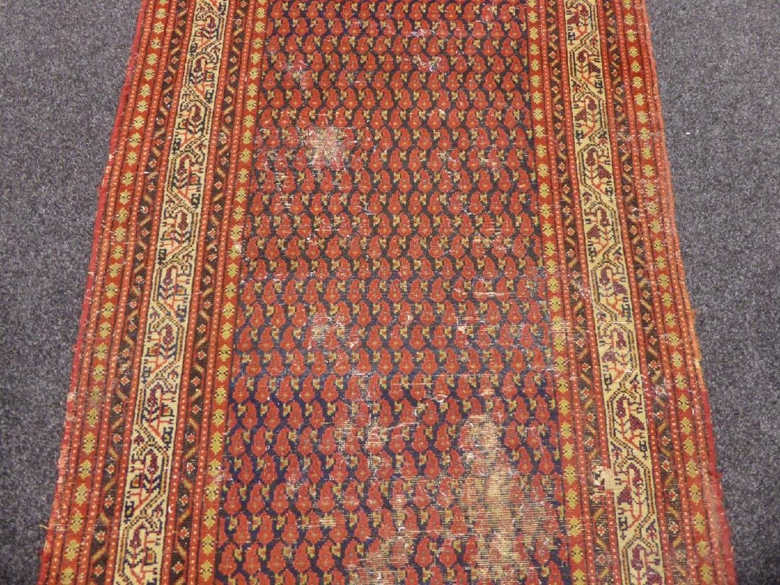 Old Persian runner rug, repeating Boteh motifs on blue - 8