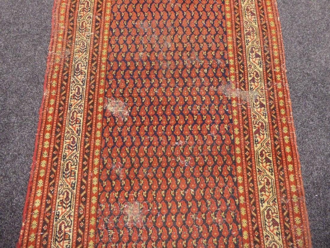 Old Persian runner rug, repeating Boteh motifs on blue - 9